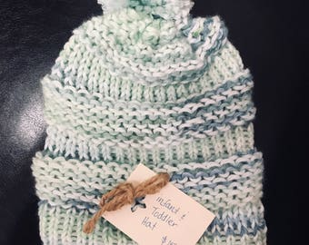 Infant & Toddler Hat with Pom Pom - Hand Dyed Yarn