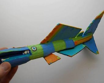 Painted Wood Fish Sculpture - Whimsical Recycled Wood Ready to Hang Funky Fish Art - Unusual Original Handmade Wall Decor