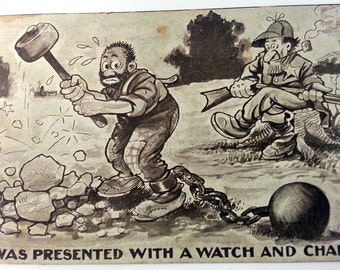 1912 Postcard Sepia - 'I was Presented With A Watch And Chain' Lawman Watching Prisoner Work Rock Pile