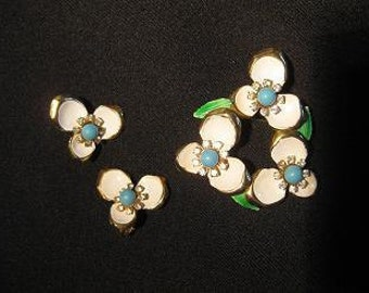 1960's Flower Enamel and Rhinestone Pin and Earrings Vintage
