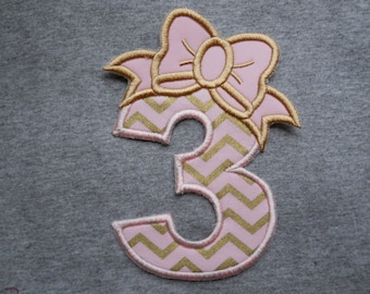 Made to order ~ Pink/Gold Bow Number ( Choose a number & Fabric) iron on or sew on applique patch