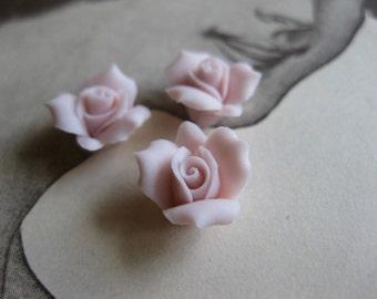 4 PC Blush Pink Porcelaine Flower Cabochon / German Bisque - 11mm