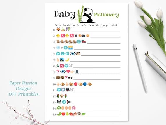 Emoji Baby Books Pictionary Game ~ Panda Bear Baby Shower Game ~ Gender  Neutral Baby Shower ~ Printable Game 0034