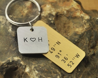 Latitude Longitude Keychain in Copper and alloy, Custom Hand Stamped Coordinates,  Initials Heart, Layered, Anniversary gift, Christmas Gift