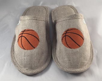 Linen slippers, men slippers, basketball slippers, embroidered slippers, light slippers, closed toe slippers, home slippers, men house shoes
