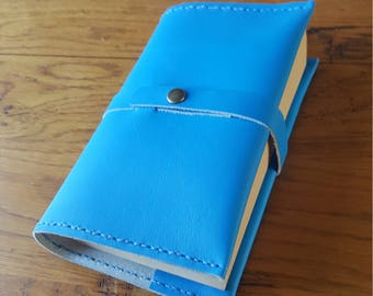Blue snap closure leather book cover