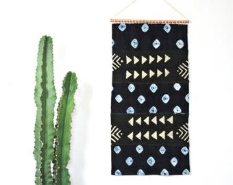 Indigo and Black Mudcloth Wall Hanging || African Mud Cloth Wall Art Textile Geometric Traditional Weaving Organic Cotton Copper Tapestry