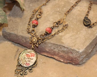 Love Is Dainty Bead and Brass Chain Pendant Necklace