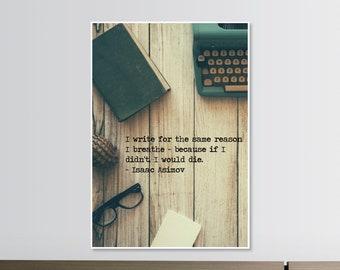 Motivational Quote Poster Print Isaac Asimov Paper Typewriter Wall Art PID 2507