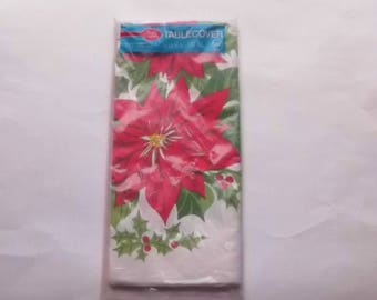 "1980's Betty Crocker Poinsettia Paper Tablecloth Sealed 54"" x 96"""