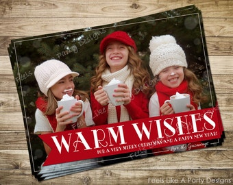 Custom Warm Wishes Christmas Card with Photo