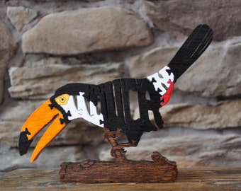 Toucan Jungle Tropical  Bird Puzzle Wooden Toy Hand Cut with Scroll Saw