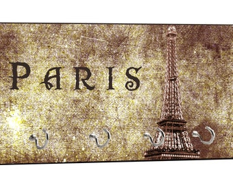 """Vintage Style Parisian Themed Eiffel Tower Grunge Paris, France Design - 5"""" by 11"""" Key Hanger Household Decoration with Four Hooks"""