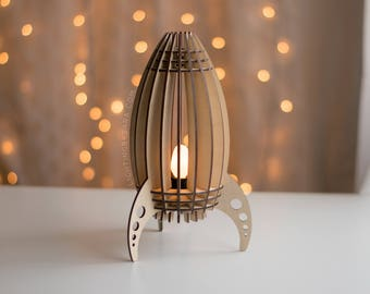 Rocket Ship Night Light / Spaceship Lantern - Outer Space Theme Nursery / Kid's Room Lamp