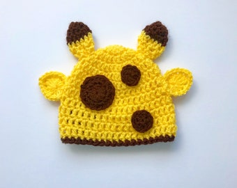 Yellow giraffe hat for all ages! Giraffe beanie hat with ears, horns and spots!