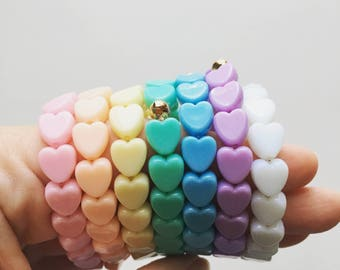 Rainbow Heart Bracelet Set (7), Fairy Kei Bracelet, Gifts For Teens, Pastel Jewelry, Kawaii Bracelet, Pastel Goth, Retro Jewelry