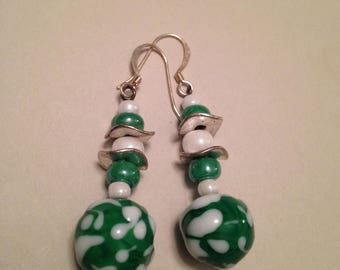 Green and white glass drop and lampwork glass dangle earrings
