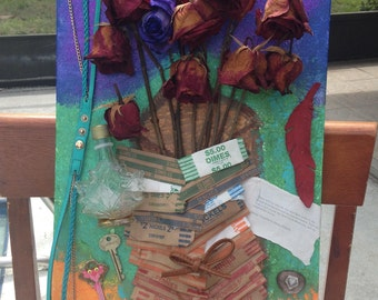 Upcycled / Recycled Trash Art Collage, Roses Love, Beer Drinker Gift, Ecclectic Art