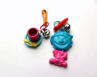 Vintage 80s Plastic Blue & Pink Necklace Charm - Choice of Tea Cup w/saucer, spoon) or Clown (w/ moveable head, body) - Silver Bell Clip On
