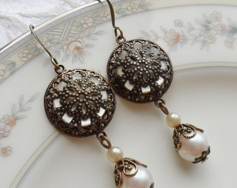 Antique Mother of Pearl Button Earrings, Embellished with Antique Brass Filigree, Brass Lace