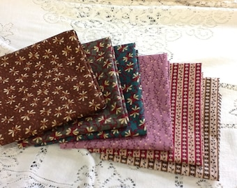 Fat quarter variety pack, Kim Deal fabrics, brown, lavendar, striped fabric, 6 fat quarters, fabric deals, fabric variety, floral