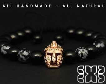 Men's Rose Gold Plated Micro Pave Bead Spartan Gladiator Helmet Snowflake Obsidian & Black Jade Beads Shamballa, Macrame Adjustable Bracelet