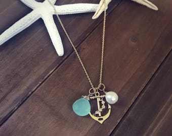 Anchor necklace, beach necklace, pearl , and gemstone necklace, anchor charm