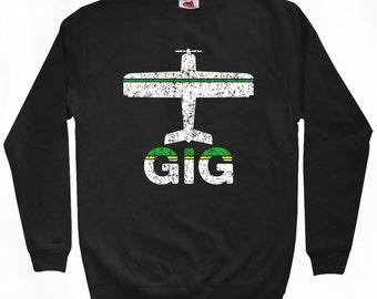 Fly Rio de Janeiro Sweatshirt - GIG Airport - Men S M L XL 2x 3x - Brazil Shirt - Brazilian, Brasil - 2 Colors