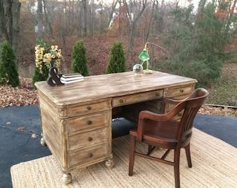 SOLD --Antique/Vintage 1940s Executive Desk/Restoration Hardware Inspired Restored Executive Desk/Executive Desk/Office Desk