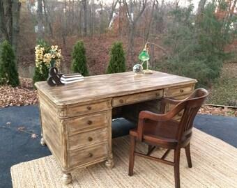 SOLD   Antique/Vintage 1940s Executive Desk/Restoration Hardware Inspired  Restored Executive Desk