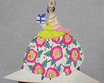 Vintage Clark Art Deco Place Card Die Cut Lady Wearing Gown w Huge Pink Flowers