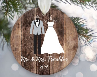"""Mr and Mrs Ornament with bride and groom attire on fake """"wood"""". Personalized Christmas ornament for those Just Married Ornament OR575"""