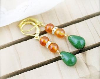 Oriental bliss earrings - carnelian, jade and rhinestone