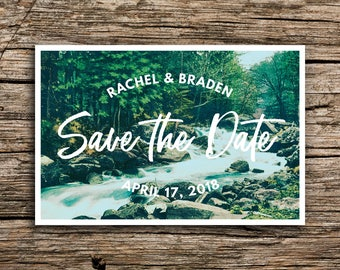 Woodland Creek Save the Date Postcard // Mountain Wedding Postcards Save the Dates Pacific Northwest West Virginia Yosemite Bohemian Cards