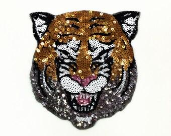 Tiger Head Sequined Applique Patch,Paillette Patch,Sequins Tiger Patch Supplies for Coat,T-Shirt,Costume Decorative Patch