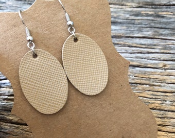 Leather earrings - Thumbprints - Sandy Saffiano