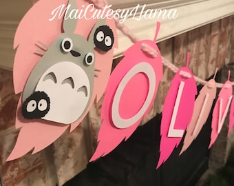 Perosnalized Name banner-Totoro-baby shower-My neighbor totoro-Totoro party-baby party-First Birthday-Birthday theme-pink totoro-its a girl