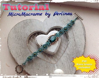 DIY Micro Macrame Beginners Tutorial Bracelet Pattern with Chrysocholla