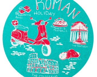 Roman Holiday Coaster Set, Rome Coaster, Reusable Coasters, Italy, Tabletop, Party, Food, Travel, Rome, Vespa, Europe, Italian