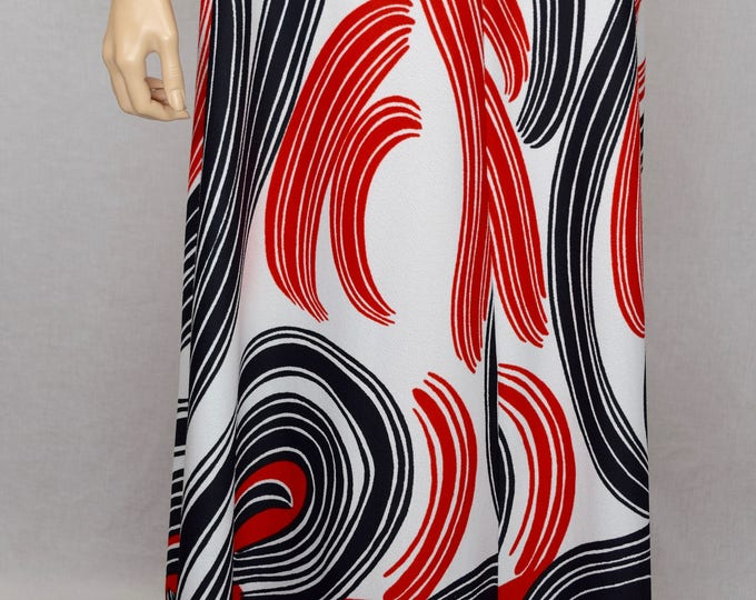 Vintage 1970's Miss Jane Miami Sexy Halter Open Back DiScO Op Art Maxi Sun Dress Size S