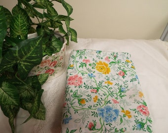Bright Pastel Floral Full Percale Flat Sheet Multi Colors Cottage Chic