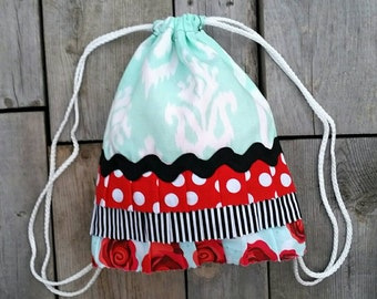 Mint Drawstring Ruffle Backpack - Toddler Backpack - Mint Red Black - Retro inspired Backpack - Ready to ship