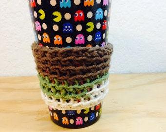 Green, Creme & Brown Crochet Coffee Sleeve
