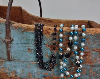 Two Vintage Blue Black White Beaded Choker Lariat Rope Necklaces
