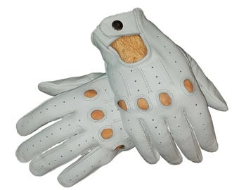 White sheep leather Driving Gloves