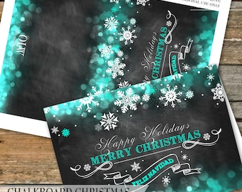Chalkboard Snowflakes Thank You Card, Winter Wonderland Thank You Cards, Turquoise, Christmas Thank You Card, DIY Printable Greeting Card