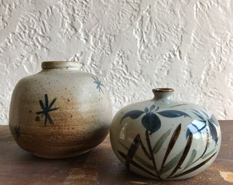 Mid Century Pots // Studio Pottery Blue and Gray Weed Pots// Set of Two