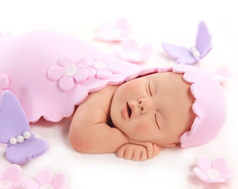 Baby Cake Topper with Blanket, Pink Flowers & Purple Butterflies Sugar Paste for Baby Shower by lil sculpture
