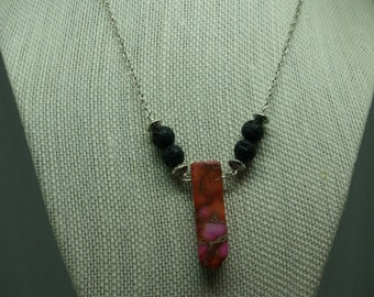 Pink Stone Diffuser Necklace