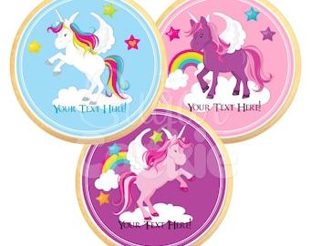 Unicorns & Rainbows Sugar Cookies - Photo Cookies, Edible Favor, Edible Images, Custom Cookies **Ships in 3-5 BUSINESS Days**